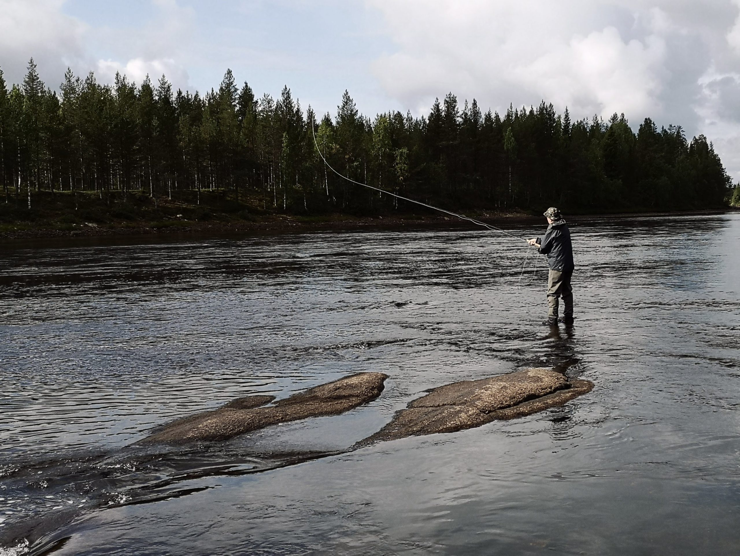 Fly fish on border line of Finland and Sweden