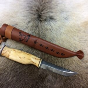 Carving knife with reindeer horn hat
